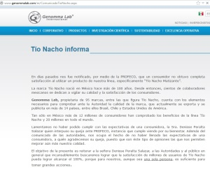 Website Genomma Lab Tío Nacho PROFECO