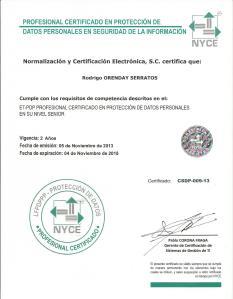 Certificación NYCE ROS PDP
