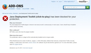 Mozilla Java Toolkit PlugIn Warning